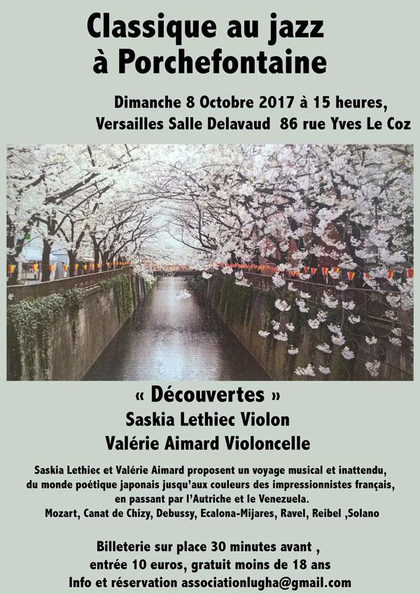 """8 octobre 15h Versailles """" Classique au jazz à Porchefontaine"""""""